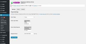 H32B - Dispensary Delivery Driver WooCommerce Plugin - Plugin Settings