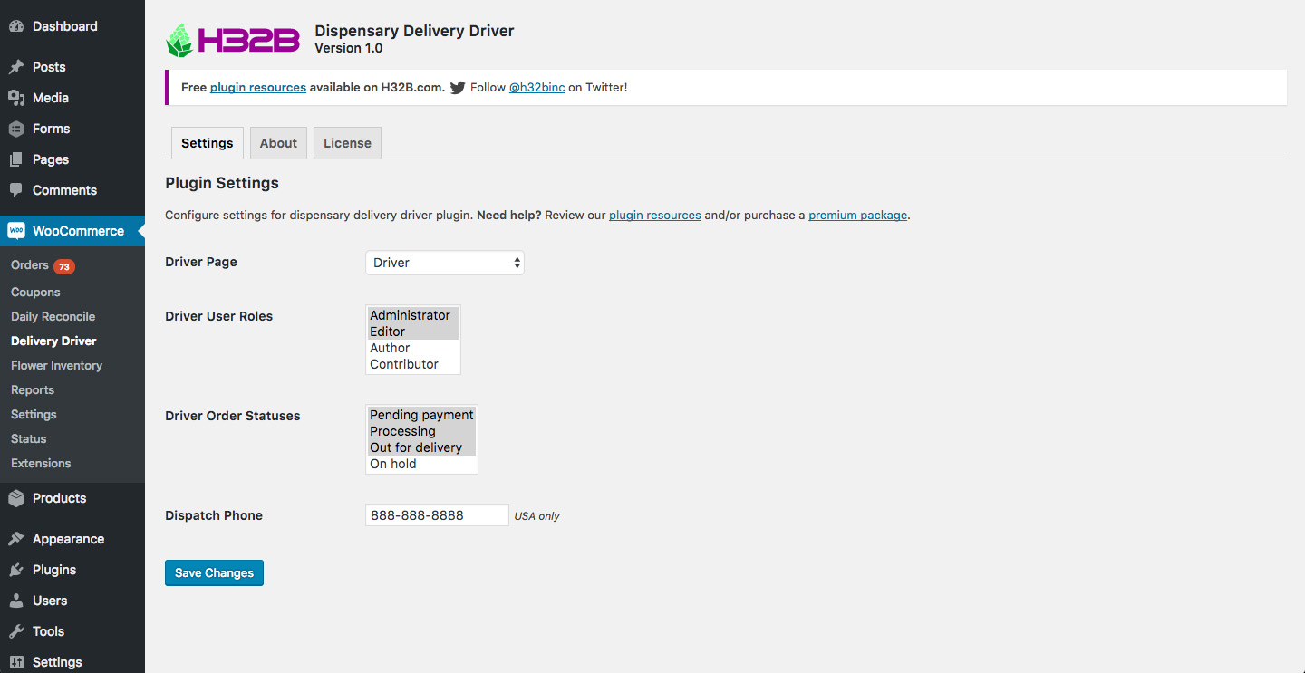 H32B - Dispensary Delivery Driver WooCommerce Plugin - Plugin Settings