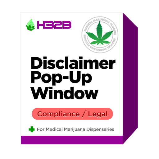 H32B Medical Marijuana Dispensary WooCommerce Plugin - Disclaimer Fullscreen Pop-up Window
