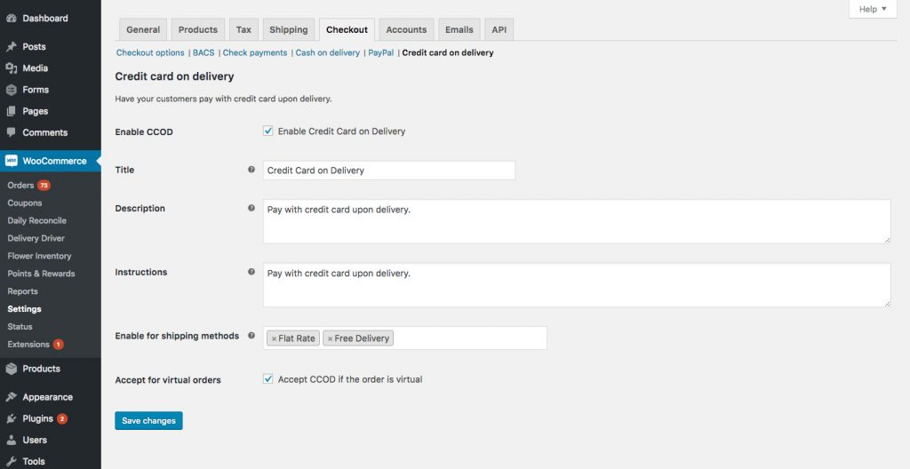 H32B Credit Card on Delivery WooCommerce Payment Method - Settings