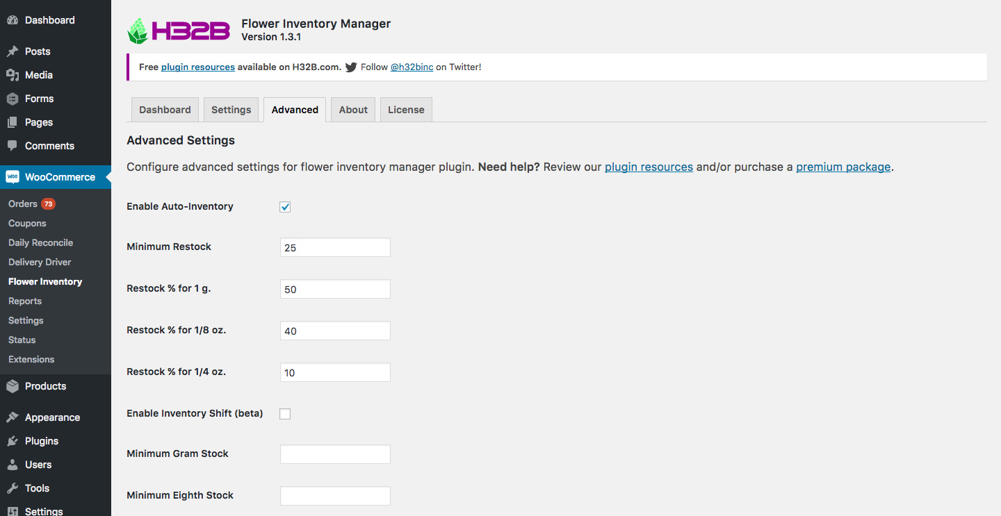 H32B Flower Inventory Manager - Marijuana Inventory Tracking Plugin for WooCommerce - Advanced Settings