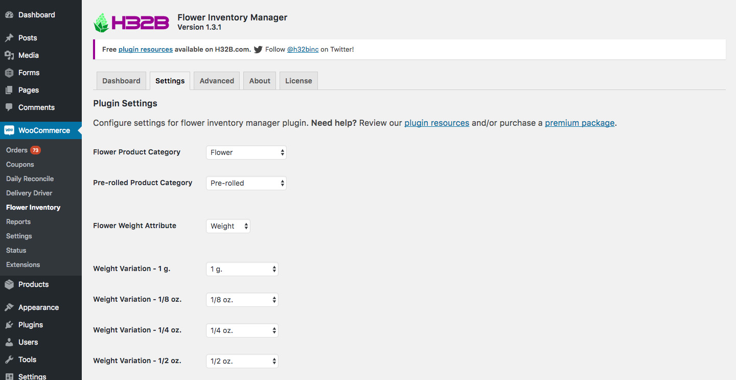H32B Flower Inventory Manager - Marijuana Inventory Tracking Plugin for WooCommerce - Settings